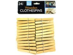 """Wooden Clothespins Set, 36 - Ideal for hanging laundry as well as other household tasks and craft projects, this 24-piece Wooden Clothespins Set is a multi-purpose home essential. Package includes 24 3"""" long wooden clothespins with metal springs. Comes packaged in a poly bag with a header card.-Colors: silver,beige. Material: metal,wood. Weight: 0.2778/unit"""