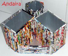 Andairadas: Portalápices hechos con rollitos de papel y bricks