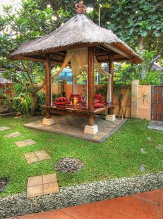 Gazebo is the small structure being built in the middle of the garden or lawn. This gazebo structure is great and worth looking being standing in your home and… Front Yard Garden Design, Small Front Yard Landscaping, Yard Design, Backyard Landscaping, Backyard Gazebo, Small Backyard Patio, Garden Gazebo, Bali Garden, Balinese Garden