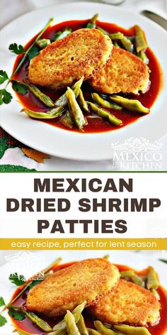 The dried shrimp flavor is addictive and great for Lent season. The Patties are crispy from the outside & tender on the inside. Perfect easy meals or to feed a crowd. #lentrecipes #shrimp #driedshrimp Seafood Recipes, Mexican Food Recipes, Chicken Recipes, Shrimp Patties, Dried Shrimp, Red Sauce, Feeding A Crowd, Vegetarian Options, Lent