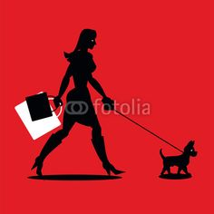 Woman shopping with pooch. Illustrator Cs, Darth Vader, Woman, Illustration, Movies, Movie Posters, Fictional Characters, Shopping, Small Dogs