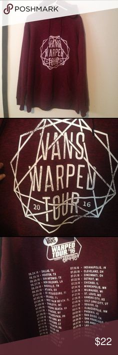 """Brand New Vans Warped Tour 2016 Hoodie!!!! This is a brand new, NEVER WORN, XXL burgundy unisex hoodie purchased for $40 at the 2016 Vans Warped Tour in Camden, NJ. The color in the picture is very true to life and it has what is usually called a """"heathered"""" look. It has a drawstring hood and cozy kangaroo-pouch pocket. No flaws, never worn, and cannot be found in online merch stores. Show your Warped cred before this year's fest even starts! Regret not picking one up last year? Well now you…"""