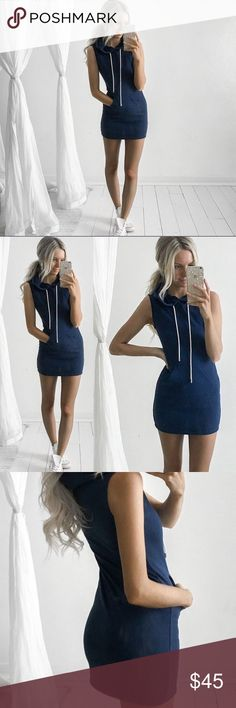 ⭐️BLUE HOODIE DRESS⭐️ Product Feature 100% Brand New Material: Polyester Color: Navy Style: Sexy Hoodie Mini Dress Size: M  There is 2-3% difference according to manual measurement. please check the measurement chart carefully before you buy the item. 1 inch = 2.54 cm  What You Get: 1 Fashion Hoodie Dress Dresses Mini