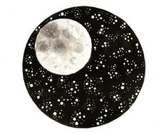 This is an original watercolor painting inspired by moon and stars.    TITLE: Round Paintings 99    -This is a hand-painted , one of a kind art