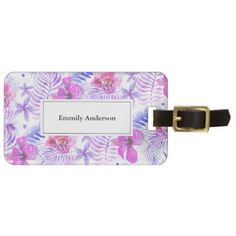 Tropical Nature Flower Watercolor Luggage Tag - patterns pattern special unique design gift idea diy