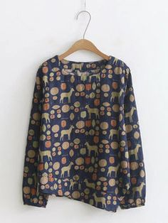 db081423e12f ZHI Vintage Print Asymmetrical Long Sleeve T-shirt For Women look chipper  and natural. NewChic has a lot of women T-shirts online for your choice