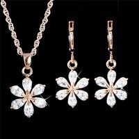 Wish | 1Set 18K Gold Filled Cubic Zirconia CZ Pendant Necklace Earrings Jewelry Set