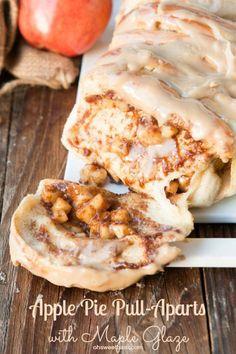 Apple Pie Pull Aparts with Maple Glaze! Really nice recipes.  Mein Blog: Alles rund um Genuss & Geschmack  Kochen Backen Braten Vorspeisen Mains & Desserts!