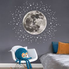 Are you interested in our Moon and stars childrens wall sticker? With our Full moon nursery wall decal you need look no further.