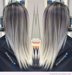 Amazing silvery grey to platinum hair colors