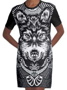 wolf Grafische T-shirt Dress