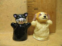 Sweet Dog & Cat HAND PUPPETS Kitten Puppy - French Feve Feves Porcelain Figurines Miniatures N201 by ValueARTifacts on Etsy