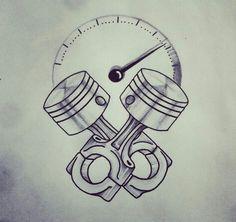 Passion on wheels - tatto - # wheels - Tattoo - Motorrad Car Tattoos, Biker Tattoos, Motorcycle Tattoos, Motorcycle Art, Tribal Tattoos, Tatoos, Motor Tattoo, Engine Tattoo, Piston Tattoo
