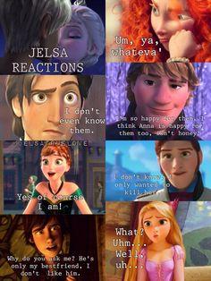 Jelsa reactions. By / merida rapunzel hans eugene flynn anna kristoff hiccup :)
