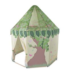 """Your child will love the Butterfly Garden Pavilion from Pacific Play Tents.  Made from peach skin with wood poles. This vibrantly colored pavilion with great butterfly graphics is sure to stimulate your child's imagination.  Large enough for multiple children and their gear.  This 5 sided tent with floor is made of peach skin with wood poles for added stability.  Size: 55"""" diameter X 63"""" high.  Includes carry bag.  Product Features + Benefits:  •Made from peach skin with wood poles •No…"""