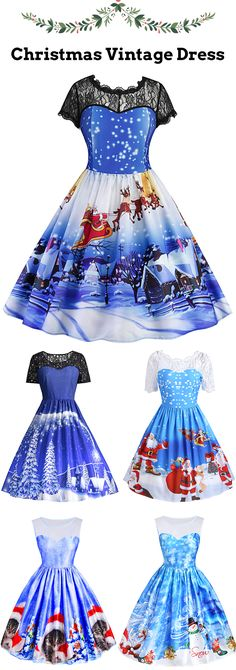 Christmas Vintage Dress in Blue  Up to 60% off  #Christmas #BlackFriday
