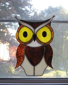 Owl Large Stained Glass Suncatcher by StainedGlassYourWay on Etsy, $45.00