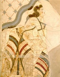 Wall-painting of Ladies and Papyri.  Akrotiri, House of the Ladies. (Museum of Thera)  Mature Late Cycladic I period (17th century B.C.).