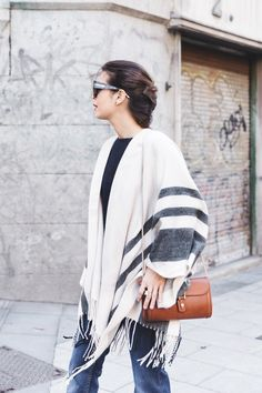 Great Christmas gift!!!Stripe_Cape_Asos-Flare_Jeans-Outfit-Street_Style-1