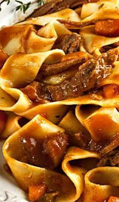 Pot Roast with Pasta - voted best recipe by Chicago Tribune. This is a definite cold weather food! Roast Recipes, Slow Cooker Recipes, Crockpot Recipes, Cooking Recipes, Game Recipes, Meatloaf Recipes, Casserole Recipes, Think Food, I Love Food