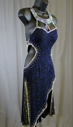 Sexy Navy Blue Shinny Latin Dress
