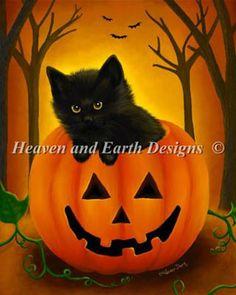 Halloween Kitten - Cross Stitch Pattern