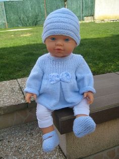 Crochet Baby Boy Layette For Girls 37 Best Ideas Knitting Dolls Clothes, Crochet Doll Clothes, Knitted Dolls, Doll Clothes Patterns, Knitting Toys, Baby Born Clothes, Girl Doll Clothes, Girl Dolls, Baby Sweaters