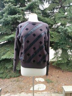 940d4e06d3 Vintage 1980s Grey Leatherette Sweater 80s New Wave