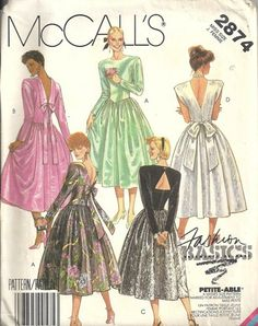 1986 McCall's 2874 Vintage Sewing Pattern. Misses back zippered dress has front and back darts, extended shoulders, shoulder pads, shaped waistline and full gathered skirt. View A, B or C has long sle