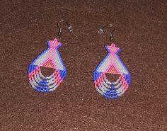 Dangle perlée Tipi boucles d'oreilles en perles de Rocaille Miyuki Neon