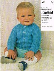 Hayfield 987 baby cardigan vintage knitting pattern