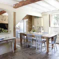 Rustic French Nordic Cottage Interiors in Cotswolds - simple dining area. Cotswold Cottage Interior, Country House Interior, Cottage Interiors, Cottage Homes, Country Homes, Country Interiors, Cotswold House, Home Design, Home Interior Design