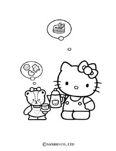 Hello Kitty is fond of food coloring page