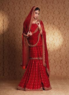 Traditional Red Pakistani Bridal Gharara - Buy Latest Pakistani Bridal Fashion Dresses for Bride 2020 Prices Pakistani Wedding Outfits, Red Wedding Dresses, Pakistani Wedding Dresses, Bridal Outfits, Pakistani Gharara, Walima, Pakistani Suits, Sharara, Shalwar Kameez