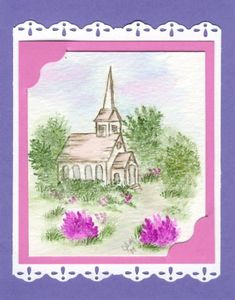 - Watercolor Church by Pabost - Cards and Paper Crafts at Splitcoaststampers Watercolor Cards, Watercolor Paintings, Card Crafts, Paper Crafts, Art Impressions Stamps, Christian Cards, Flower Landscape, Country Art, Creative Cards