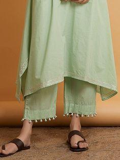 Buy Pista Green Gota Cotton Suit - Set O - Womens Fashion Kurta Designs Women, Salwar Designs, Kurti Neck Designs, Dress Neck Designs, Kurti Designs Party Wear, Blouse Designs, Fashion Casual, Fashion Pants, Workwear Fashion