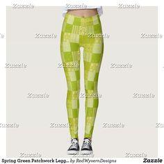 Spring Green Patchwork Leggings