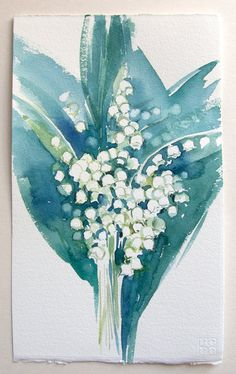 Lily Of The Valley painting. Watercolor original. Floral illustration. Art for home. Small watercolors 7,5 by 11 inches. Art original only