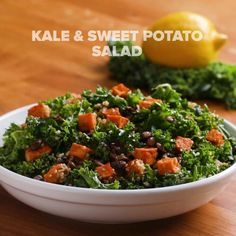 Kale & Sweet Potato Salad Recipe by Tasty Roasted Veggie Salad, Chickpea Salad Recipes, Vegetarian Recipes, Healthy Recipes, Vegan Meals, Protein Recipes, Healthy Foods, Hash Browns, Sin Gluten