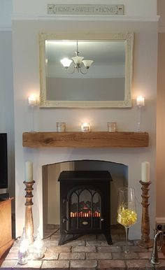 Buy your Oak Beam Mantle here: Wood Burner Fireplace, Cosy Fireplace, Living Room Decor Fireplace, Inglenook Fireplace, Fireplace Surrounds, Fireplace Design, Cottage Fireplace, Fireplace Mantels, Cottage Living Rooms
