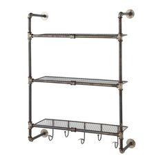 Gordon - Scaffale da parete in metallo effetto anticato L 68 cm
