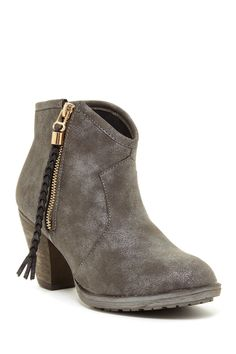 been looking for a grey bootie... maybe for fall 2014 ... Bucco Kimana Braided Tassel Ankle Bootie on HauteLook