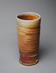 Clay Tumbler Wine Cup Wood  Soda Fired K2 by JohnMcCoyPottery, $28.00. www.etsy.com/shop/JohnMcCoyPottery