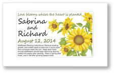 50 - Sunflower Wedding or Bridal Shower Seed Packet Favors - Summer Country