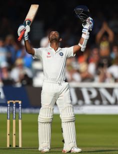 Ajinkya Rahane celebrates his maiden Test ton in England, England v India, 2nd Investec Test, Lord's, 1st day, July 17, 2014
