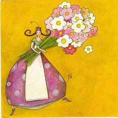 Kudos to Gaelle - this just makes me feel happy! Marie Cardouat, Art Fantaisiste, Art Carte, Square Card, Art Moderne, Naive Art, Whimsical Art, Cute Illustration, Creative Art