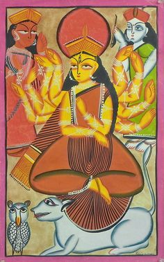 Goddess Durga with Lakshmi and Saraswati (Kalighat Painting - Water Color on Paper - Unframed))