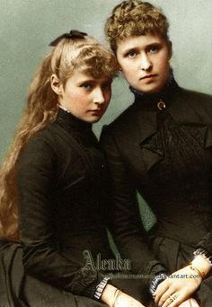 Alix and Irene two youngest survivng daughters of Grand Duke Ludwig IV of Hesse and Princess Alice of Great Britain. Alice was Queen Victoria's daughter.