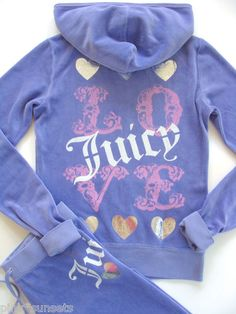 Juicy Couture Velour Tracksuit Love Hearts Violet Hoodie Pants