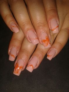 Nude square nails and aquarelle painting